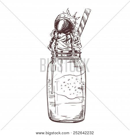 Vector Hand Drawn Milkshake Illustration Decorated With Chocolate And Strawberry. Sketch Vintage Eng