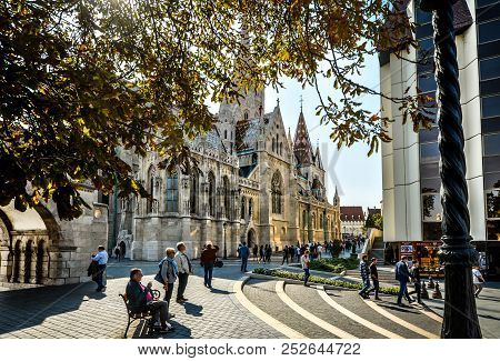 Budapest, Hungary - September 30 2017: Tourists Visit The Matthias Church, Part Of The Buda Castle D