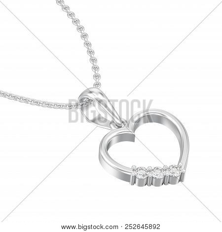 3d Illustration Isolated Jewelry White Gold Or Silver Diamond Heart Necklace On Chain