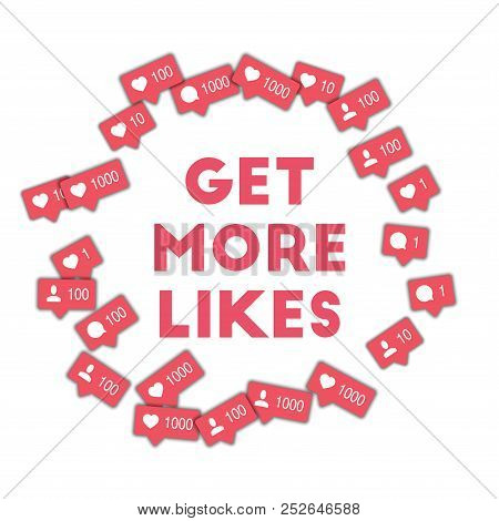Get More Likes. Social Media Icons In Abstract Shape Background With Counter, Comment And Friend Not
