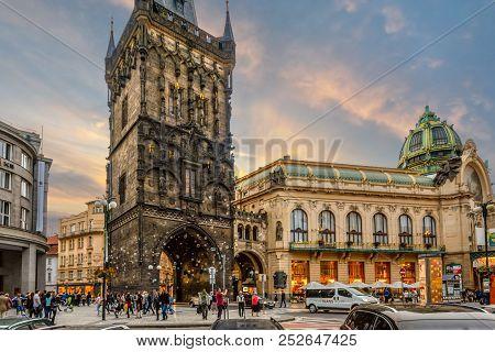 Prague, Czech Republic - September 29 2017: The Sun Sets On The Prague Municipal House Alongside The