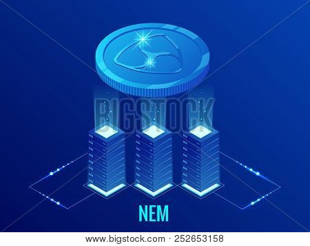 Isometric Nem Cryptocurrency Mining Farm. Blockchain Technology, Cryptocurrency And A Digital Paymen