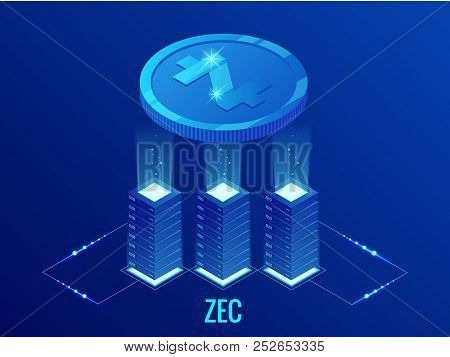 Isometric Zcash Cryptocurrency Mining Farm. Blockchain Technology, Cryptocurrency And A Digital Paym