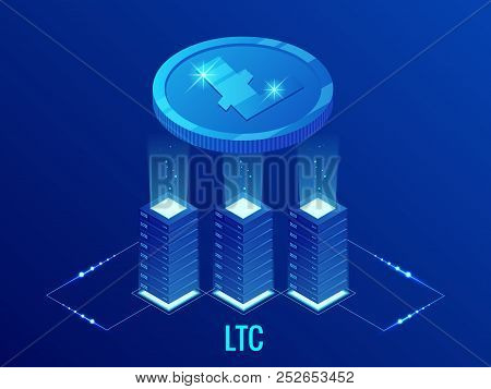 Isometric Litecoin Ltc Cryptocurrency Mining Farm. Blockchain Technology, Cryptocurrency And A Digit