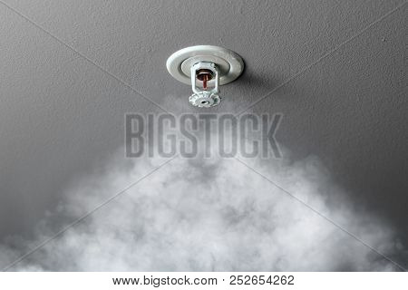 fire alarm sprinkler system in action with smoke