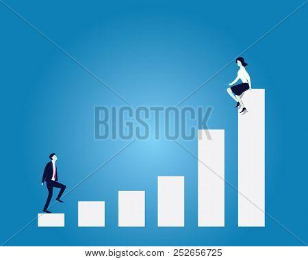 Business Target Concept. Businessman Climbing Ladder Reaching Woman