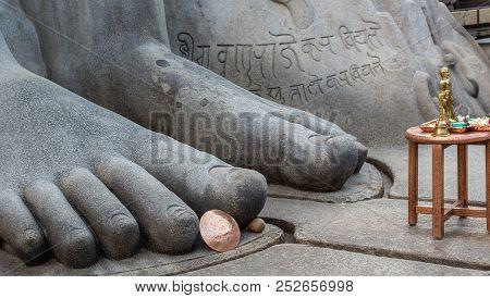 Shravanabelagola, Karnataka, India - November 1, 2013: Closeup Of Giant Blue Gray Granite Feet Of Bh