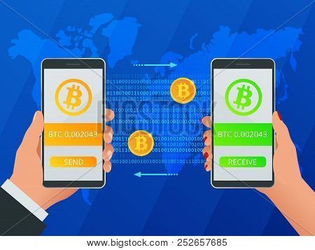 Isometric Buy Bitcoin. Man And Woman Hand Holding Smartphone With Golden Bitcoin, Button Buy. Vector