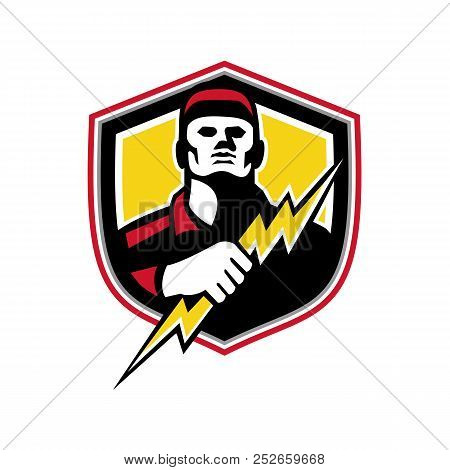Mascot Icon Illustration Of Bust Of A Power Lineman Or Electrician Holding A Thunderbolt Or Lightnin