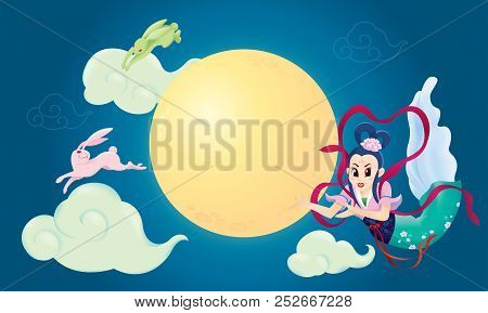 Chinese Mid Autumn Festival Design With The Goddess Chang Er And Rabbits.