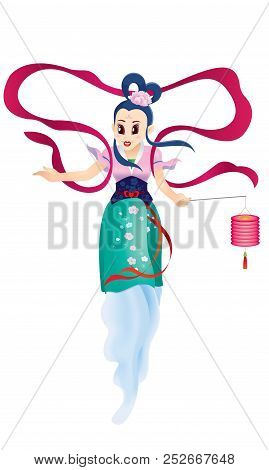 Chinese Mid Autumn Festival Design With The Goddess Chang Er. Isolated.