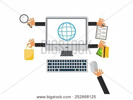 Online Shopping And E-commerce. Buy, Sale, Payment And Delivery Of Product. E-commerce, Online Shopp