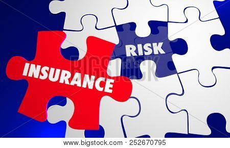Insurance Coverage Vs Risk Avoid Liability Puzzle Words 3d Illustration