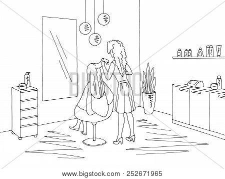 Hair Salon Graphic Black White Interior Sketch Illustration Vector. Hairdresser Working