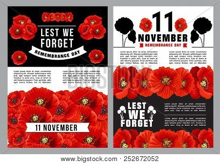 Poppy Day Lest We Forget Poster For Remembrance Day Template. Red Poppy Flower Field With 11 Novembe