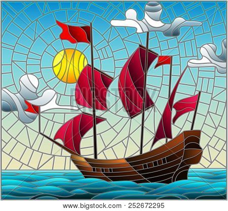 Illustration In Stained Glass Style With An Old Ship Sailing With Red Sails Against The Sea, Sun And