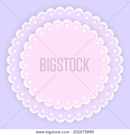 Pink Purple And White Scalloped Lacy Edge Embroidery Circle Doilies Card Template Vector