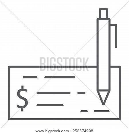 Bank Check Thin Line Icon, Finance And Banking, Cheque Sign, Vector Graphics, A Linear Pattern On A