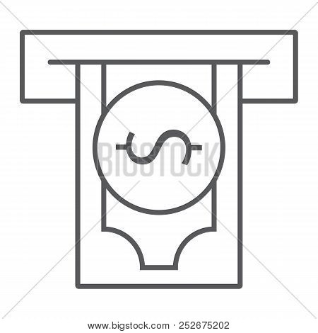 Insert money thin line icon, finance and banking, payment sign, vector graphics, a linear pattern on a white background, eps 10. poster
