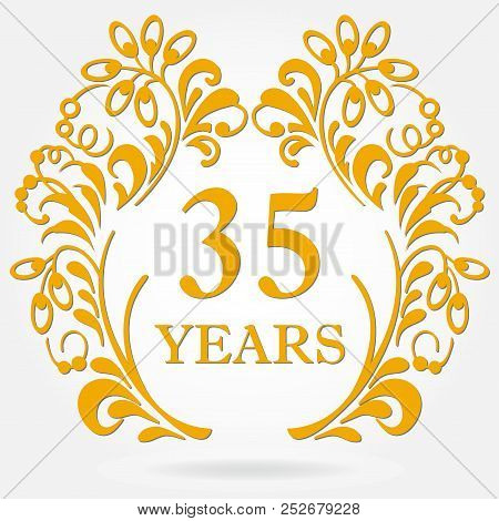 35 Years Anniversary Icon In Ornate Frame With Floral Elements. Template For Celebration And Congrat