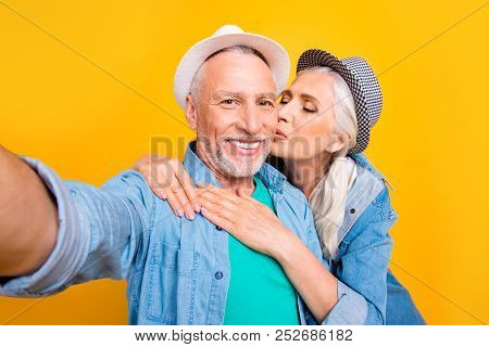 I Adore You My Dear Honey Husband Style Stylish Denim Jeans Modern Clothes Emotion Concept. Close Up