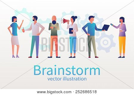 Brainstorm Concept, Business Meeting. Group Of Young People Met For The Conference. Creative People.