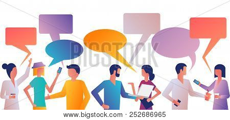 Discuss People. Many Men And Women With Gadgets Talk At Meeting. Businesspeople Corporate Meeting. D