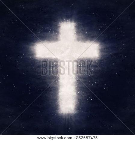 Illustration. Cross Shape Shine In Dark Night Cloud Sky. Christian Conceptual Image Background