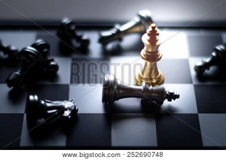 Golden King Chess Piece Win The Silver King Chess On The Game For Business And Financial Concept.