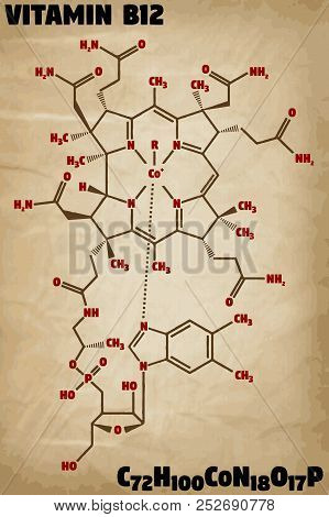 Detailed Infographic Illustration Of The Molecule Of Vitamin B12.