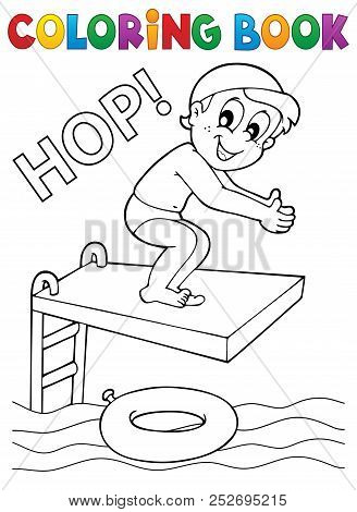 Coloring Book Boy Jumping Into Water - Eps10 Vector Picture Illustration.