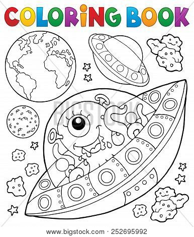 Coloring Book Flying Saucers Near Earth - Eps10 Vector Picture Illustration.