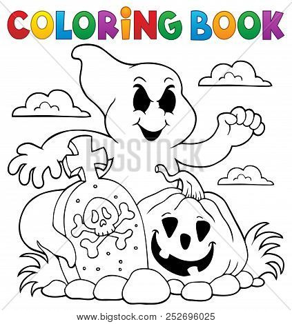 Coloring Book Ghost Subject - Eps10 Vector Picture Illustration.