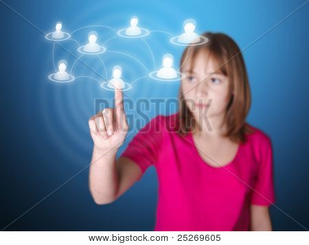 Girl Pointing On Touch Screen A Social Network Member