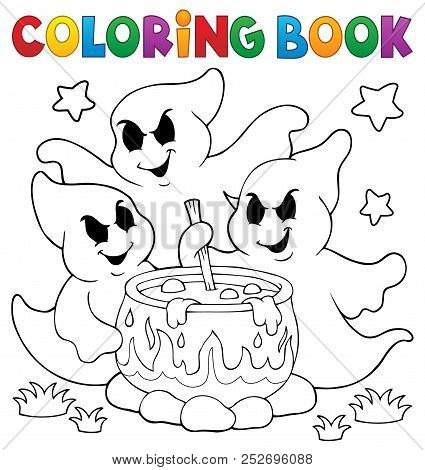 Coloring Book Ghosts Stirring Potion - Eps10 Vector Picture Illustration.