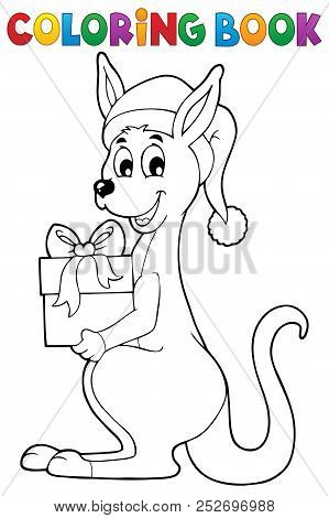 Coloring Book Christmas Kangaroo - Eps10 Vector Picture Illustration.