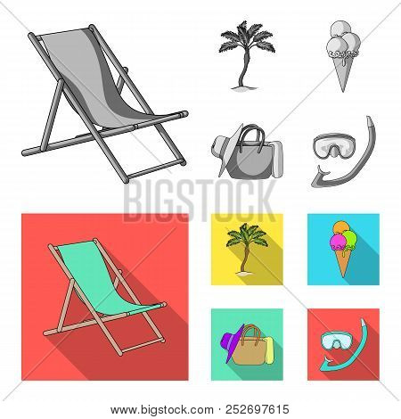 Beach, Palm Tree, Ice Cream.summer Vacation Set Collection Icons In Monochrome, Flat Style Vector Sy