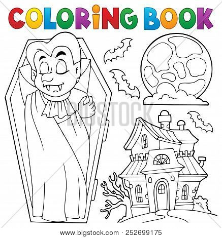 Coloring Book Vampire Theme 3 - Eps10 Vector Picture Illustration.