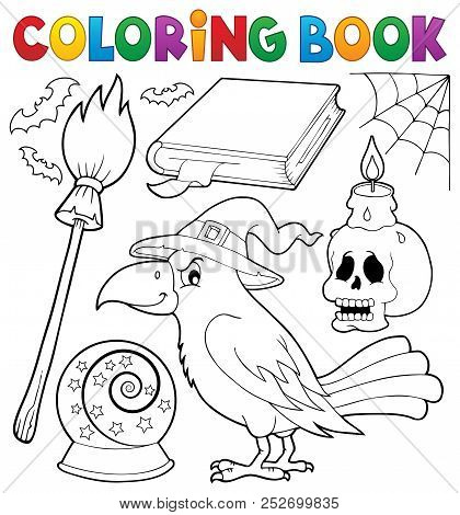 Coloring Book Witch Crow Theme - Eps10 Vector Picture Illustration.