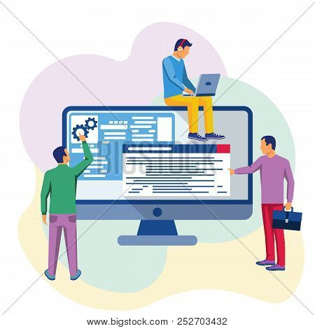 Programmers At Work. Programming Application Development Website Coding. Software Concept. Vector Il