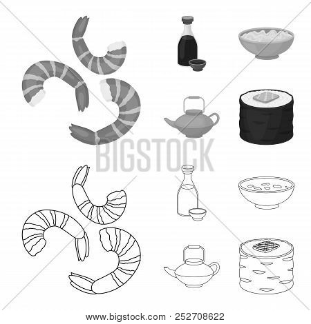 Soy Sauce, Noodles, Kettle.rolls.sushi Set Collection Icons In Outline, Monochrome Style Vector Symb