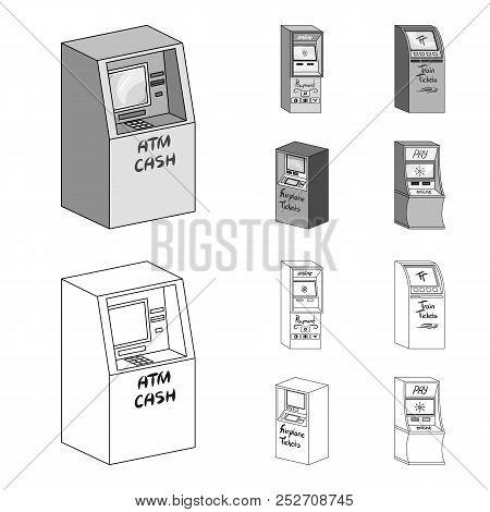 Cash Machine For Cash, Terminal For Payment, Ticket Machine. Terminals Set Collection Icons In Outli