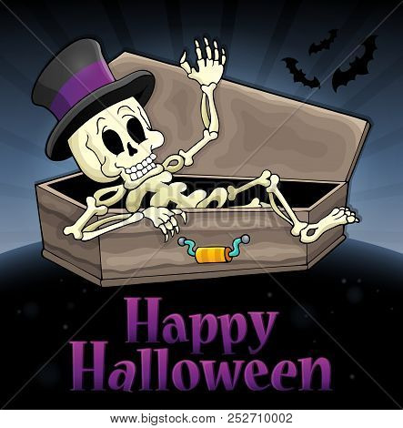 Happy Halloween Sign With Skeleton - Eps10 Vector Picture Illustration.