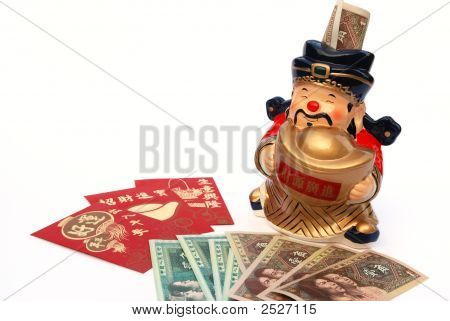 lucky money and mammon figure bank for Chinese new year poster