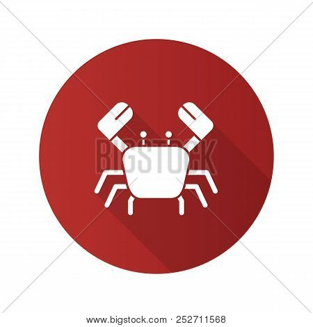 Crab Flat Design Long Shadow Glyph Icon