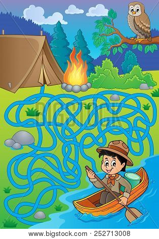 Maze 27 With Water Scout Boy - Eps10 Vector Picture Illustration.