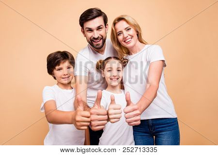 Portrait Of Young Beautiful Family, Bearded Father, Blonde Mother And Their Little Children, Boy And