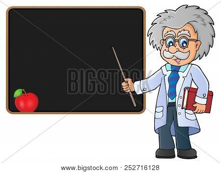 Scientist By Blackboard Theme Image 2 - Eps10 Vector Picture Illustration.