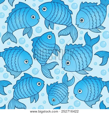 Seamless Background With Fish Drawings 3 - Eps10 Vector Picture Illustration.