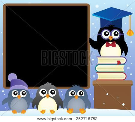 School Penguins Theme Image 2 - Eps10 Vector Picture Illustration.